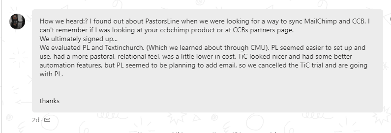 Jeff Rakes CCB PastorsLine alternative TextinChurch