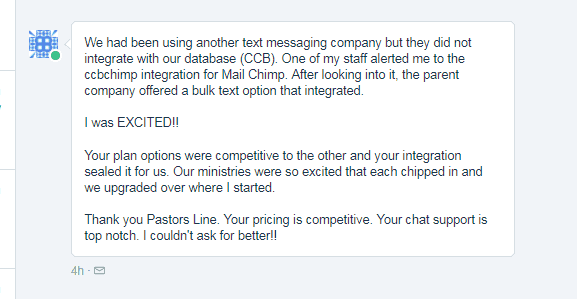 Suggested by staff member. Game changer: CCB integration for Mail Chimp.