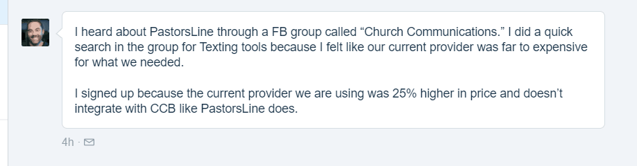 Searched 'texting tools' in the Facebook group. Liked lower cost and CCB integration.