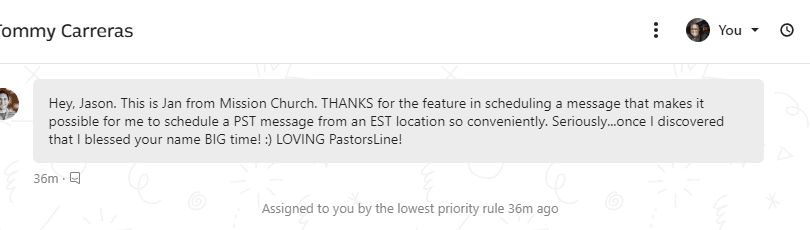 Scheduling Texts with PastorsLine