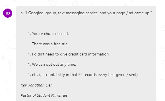 Text reports and analytics with PastorsLine