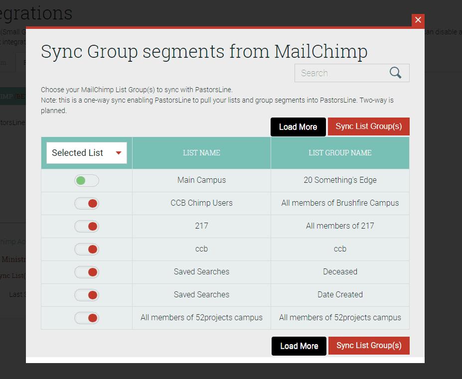 sync MailChimp with PastorsLine