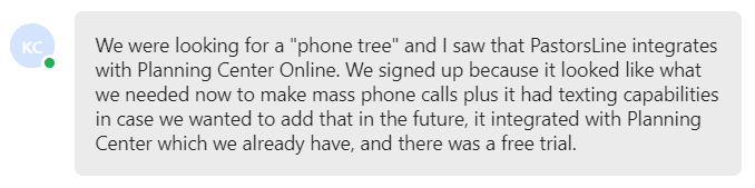 We signed up because it looked like what we needed now to make mass phone calls plus it had texting capabilities in case we wanted to add that in the future,